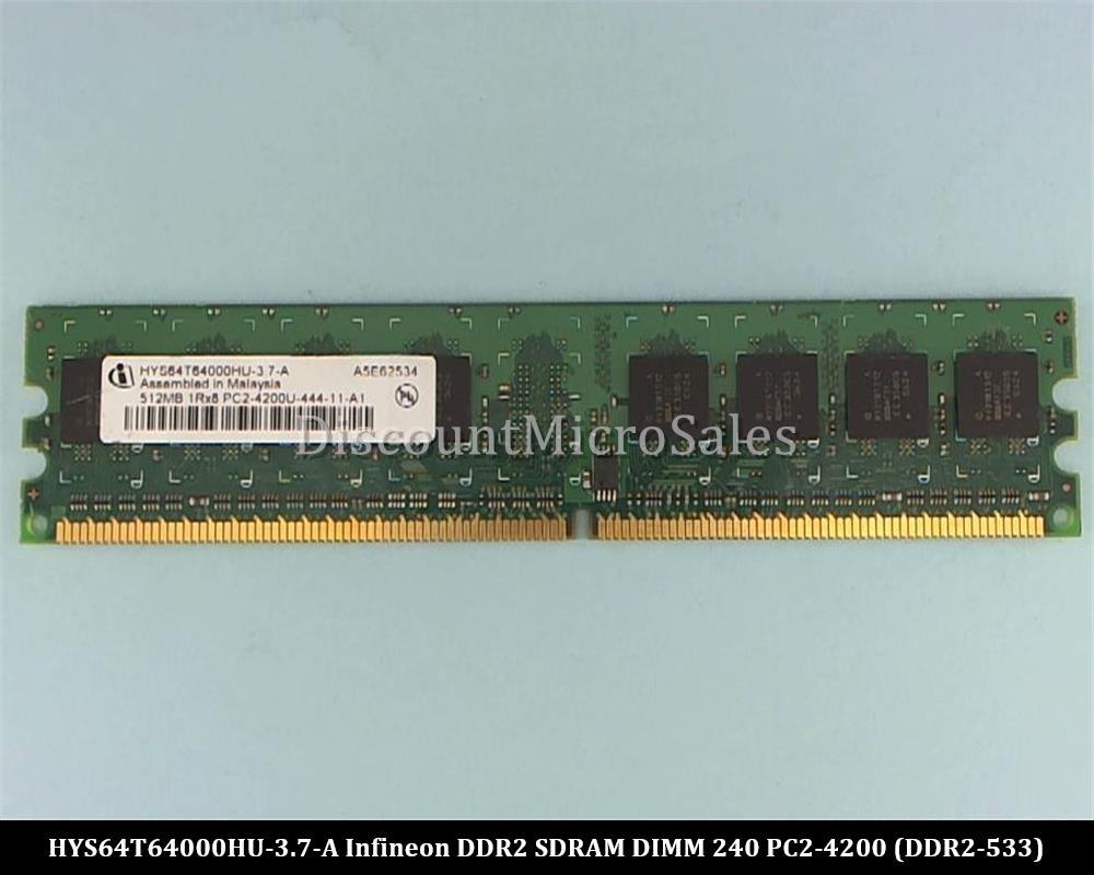 Infineon 512MB PC2-4200U HYS64T64000HU-3.7-A 240-pin non-ecc DDR2 DIMM RAM